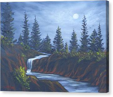 Moonlit Falls Canvas Print