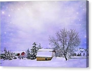 Surreal Barn Canvas Print - Moonlit Farm by Theresa Tahara