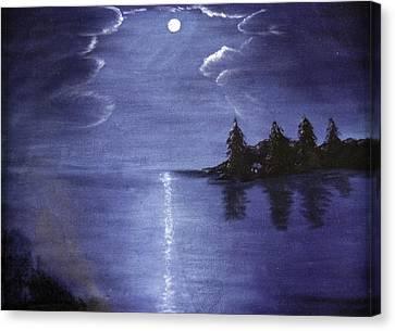 Moonlit Lake Canvas Print by Judy Hall-Folde