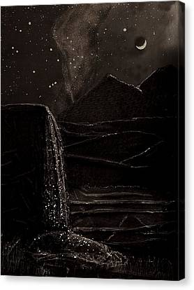 Canvas Print featuring the mixed media Moonlit Night by Angela Stout