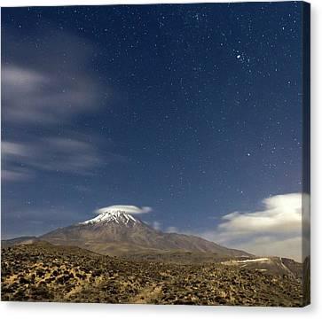 Moonlit Night At Mount Damavand Canvas Print by Babak Tafreshi