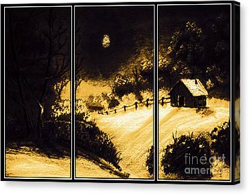 Moonlit Night Triptych Canvas Print by Barbara Griffin