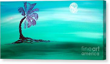 Moonlit Palm Canvas Print