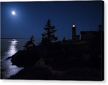 Canvas Print featuring the photograph Moonlit Panorama West Quoddy Head Lighthouse by Marty Saccone