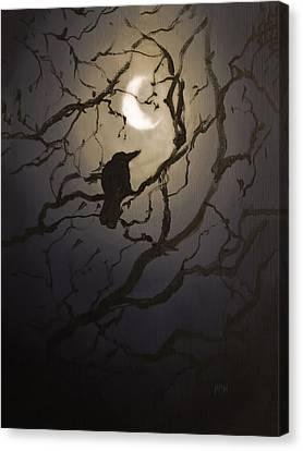 Moonlit Perch Canvas Print by Melissa Herrin