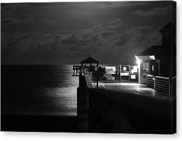Moonlit Pier Black And White Canvas Print by Laura Fasulo