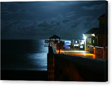 Canvas Print featuring the photograph Moonlit Pier by Laura Fasulo