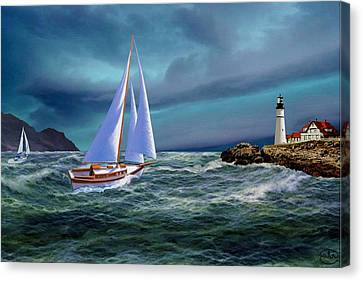 Moonlit Portland Head Canvas Print by Ron Chambers