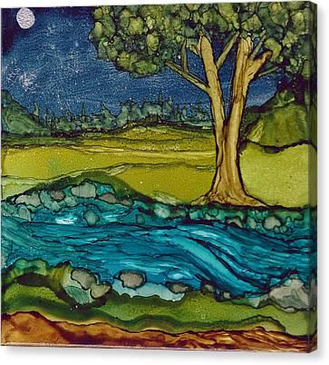 Moonlit Stream Canvas Print by Margo Darretta