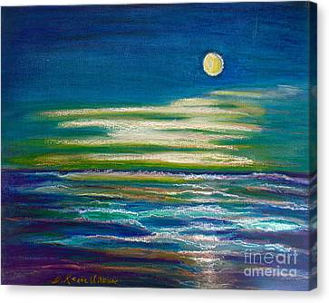 Canvas Print featuring the painting Moonlit Tide by D Renee Wilson