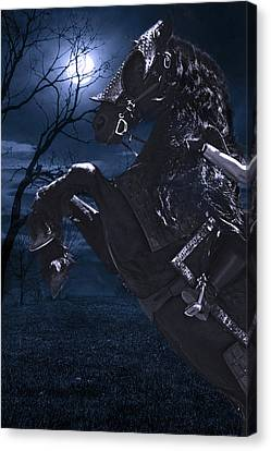 Moonlit Warrior Canvas Print by Wes and Dotty Weber