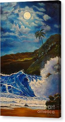Canvas Print featuring the painting Moonlit Wave 11 by Jenny Lee
