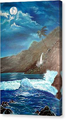 Canvas Print featuring the painting Moonlit Wave by Jenny Lee