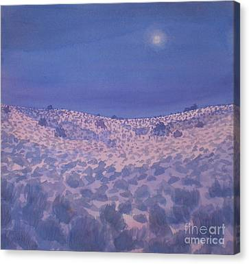 Canvas Print featuring the painting Moonlit Winter Desert by Suzanne McKay