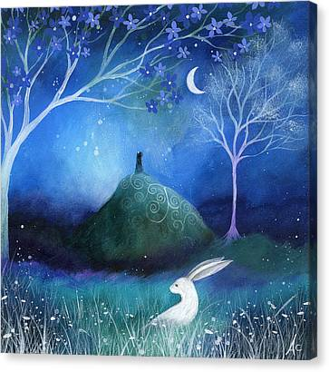 Night Canvas Print - Moonlite And Hare by Amanda Clark