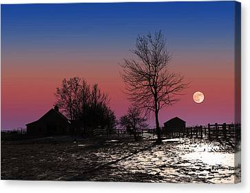 Canvas Print featuring the photograph Moonrise At Sunset by Larry Landolfi