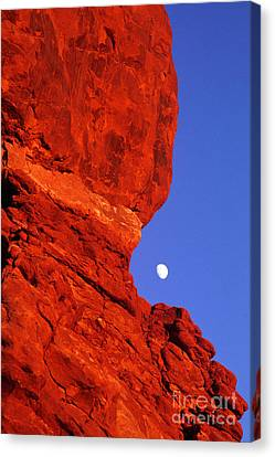 Canvas Print featuring the photograph Moonrise Balanced Rock Arches National Park Utah by Dave Welling