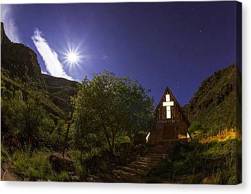 Moonrise Chapel Canvas Print by Aaron Bedell