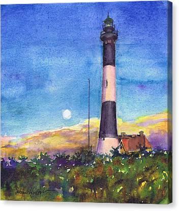 Canvas Print featuring the painting Moonrise Fire Island Lighthouse by Susan Herbst