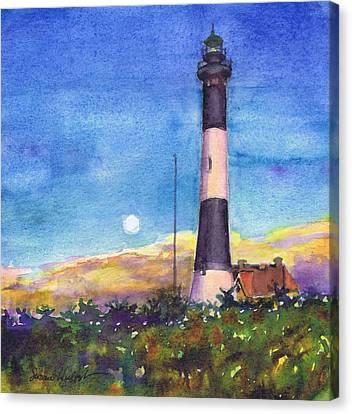 Moonrise Fire Island Lighthouse Canvas Print