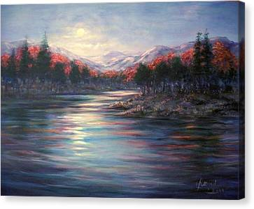 Canvas Print featuring the painting Moonrise On The Lake#2 by Laila Awad Jamaleldin