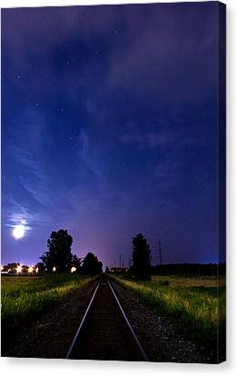 Moonrise On The Railroad Canvas Print by Cale Best