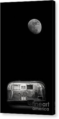 Weathered Canvas Print - Moonrise Over Airstream by Edward Fielding