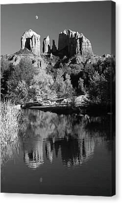 Moonrise Over Cathedral Rocks Canvas Print by Harold Rau