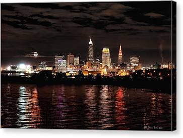 Moonrise Over Cleveland Skyline Canvas Print
