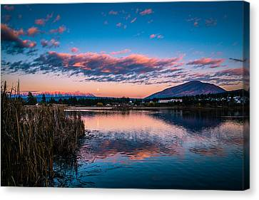 Canvas Print featuring the photograph Moonrise Over Elizabeth Lake by Rob Tullis