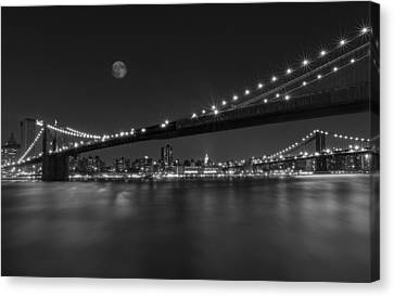 Brooklyn Bridge Canvas Print - Moonrise Over Manhattan Bw by Susan Candelario