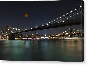 Moonrise Over Manhattan II Canvas Print by Susan Candelario