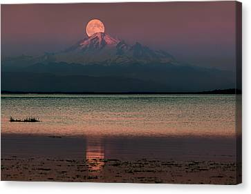 Moonrise Over Mount Baker Canvas Print by Alexis Birkill