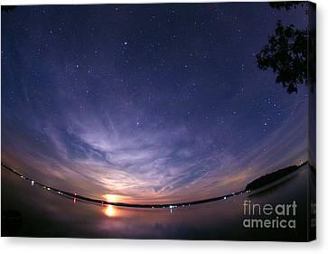 Waning Moon Canvas Print - Moonrise Over Rice Lake, Canada by John Chumack