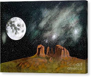 Moonrise Over Sedona Canvas Print by John Lyes