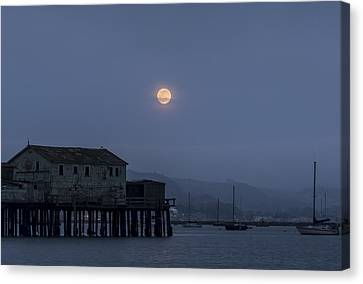 Moonrise Over The Harbor Canvas Print