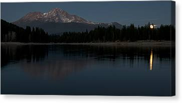 Moonrise Over The Lake At Mount Shasta Canvas Print by Loree Johnson