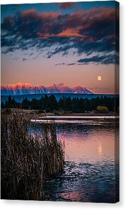 Canvas Print featuring the photograph Moonrise Rocky Moutains by Rob Tullis