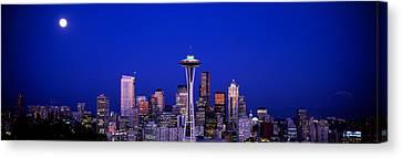 Moonrise, Seattle, Washington State, Usa Canvas Print by Panoramic Images