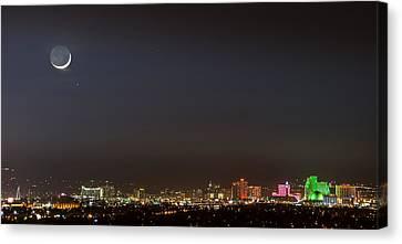 Reno Downtown New Years Moonset Pano Canvas Print