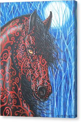 Moonsfyre Stallion Of Nyteworld Canvas Print by Beth Clark-McDonal