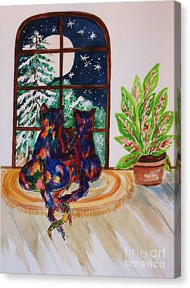Moonstruck Cats - Winter Wonderland Canvas Print by Ellen Levinson