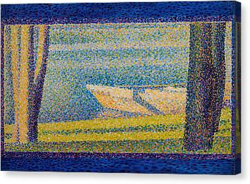 Moored Boats And Trees Canvas Print by Georges Seurat
