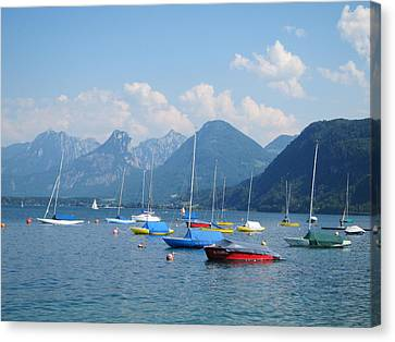 Canvas Print featuring the photograph Moored Boats by Pema Hou