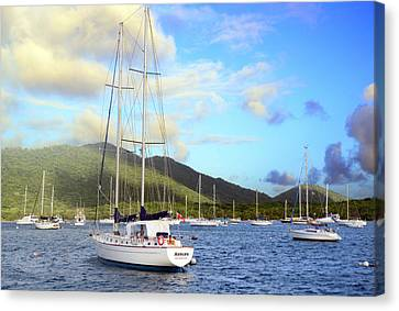 Moored To Relax Canvas Print by Michael Glenn