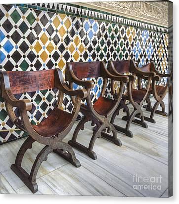 Moorish Tile Work At The Alhambra Canvas Print by Heiko Koehrer-Wagner