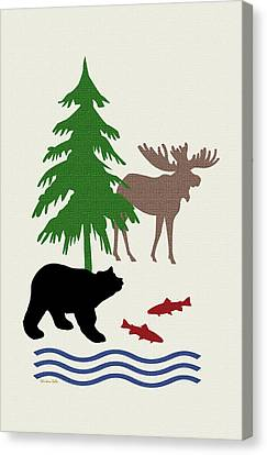 Moose And Bear Pattern Art Canvas Print