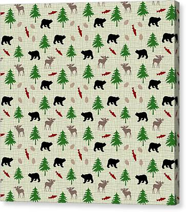 Moose And Bear Pattern Canvas Print by Christina Rollo