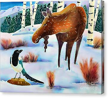 Moose And Mappie Canvas Print by Harriet Peck Taylor