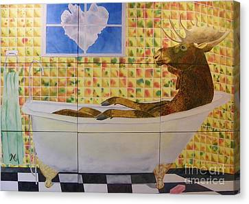 Moose Bath II Canvas Print